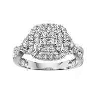 Simply Vera Vera Wang 14k White Gold 1/2 Carat T.W. Certified Diamond Halo Engagement Ring