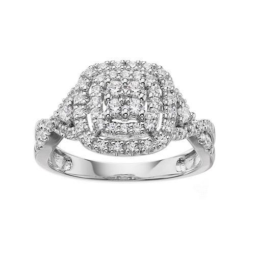 Simply Vera Vera Wang 14k White Gold 1/2 Carat T.W. Certified Diamond Halo Engagement Ring