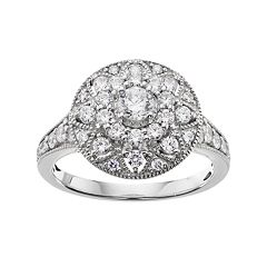 Simply Vera Vera Wang 14k White Gold 1 Carat T.W. Certified Diamond Halo Engagement Ring