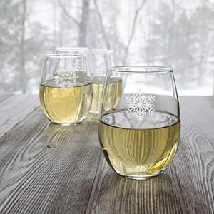 Cathy's Concepts 4-pc. Snowflake Stemless Wine Glass Set