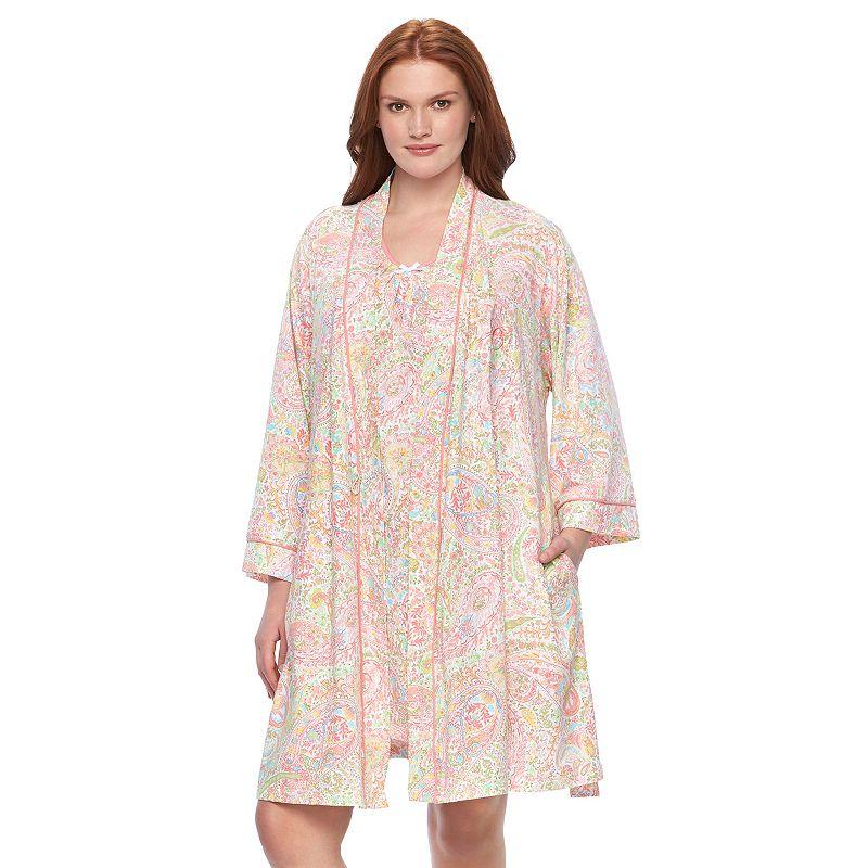 Plus Size Chaps Pajamas: Shelly Bay Chemise & Wrap Robe Pajama Set