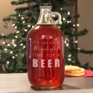 """Cathy's Concepts """"It's The Most Wonderful Time For A Beer"""" Glass Growler"""