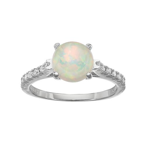 Sophie Miller Sterling Silver Lab-Created Opal & Cubic Zirconia Ring
