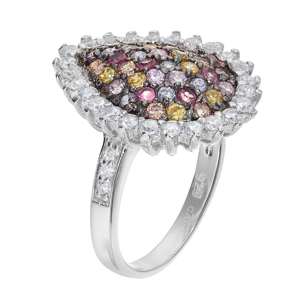 Sophie Miller Sterling Silver Cubic Zirconia Teardrop Ring
