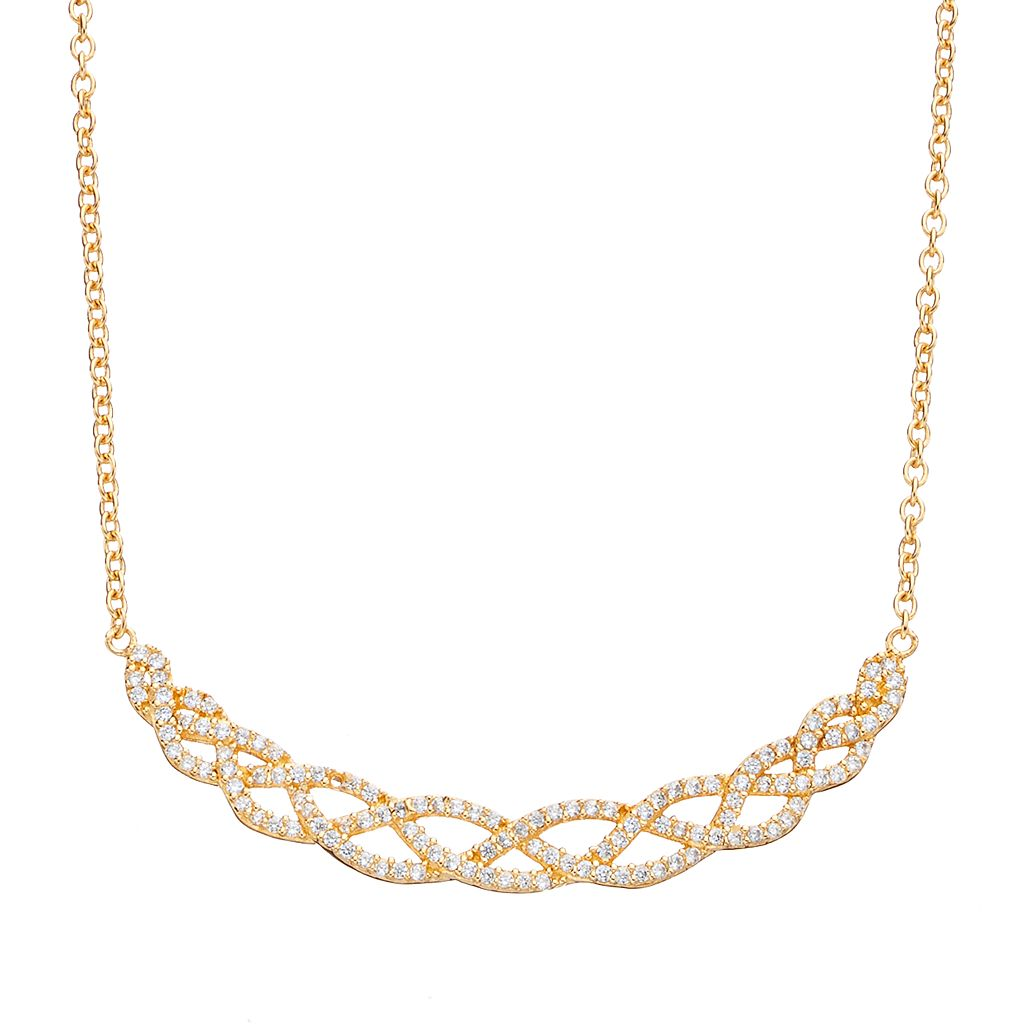 Sophie MillerCubic Zirconia Sterling Silver Woven Necklace