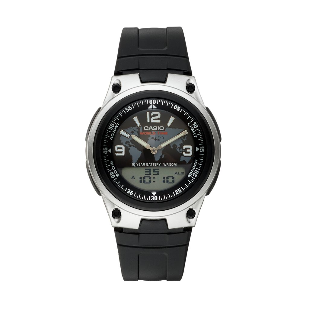 Casio Men's World Time Analog & Digital Watch - AW80-1A2V