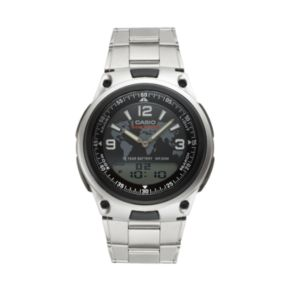 Casio Men's Stainless Steel World Time Analog & Digital Watch - AW80D-1A2V