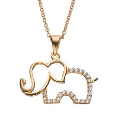 Sophie Miller Cubic Zirconia Sterling Silver Elephant Pendant Necklace