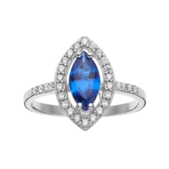 Sophie Miller Sterling Silver Lab-Created Blue Spinel & Cubic Zirconia Ring