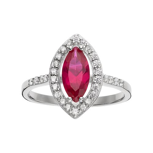Sophie Miller Sterling Silver Lab-Created Ruby & Cubic Zirconia Ring