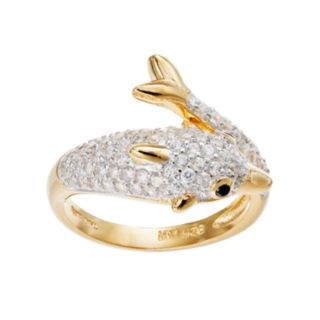 Sophie Miller 14k Gold Over Silver Cubic Zirconia Dolphin Ring