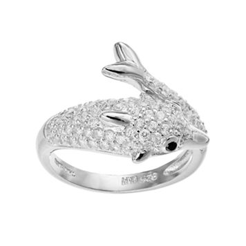 Sophie Miller Sterling Silver Cubic Zirconia Dolphin Ring