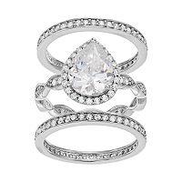 Sophie Miller Sterling Silver Cubic Zirconia Teardrop Ring Set