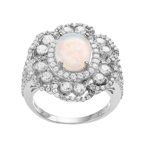Sophie Miller Sterling Silver Lab-Created Opal & Cubic Zirconia Flower Ring