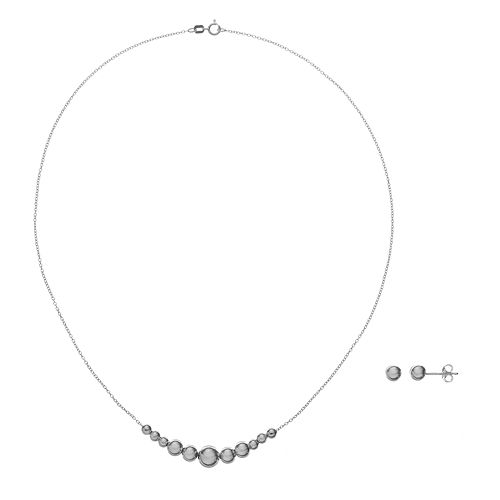 Sterling Silver Bead Necklace & Ball Stud Earring Set