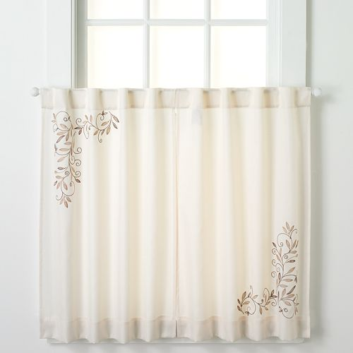 CHF Scroll Leaf Tier Kitchen Window Curtain Set