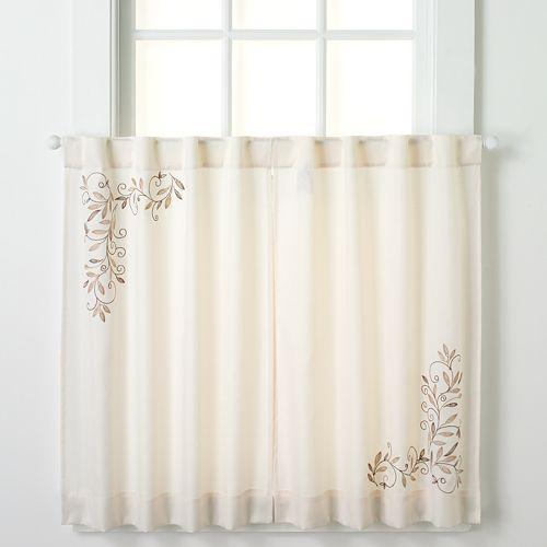 Kohl S Kitchen Curtains: CHF Scroll Leaf Tier Kitchen Window Curtain Set