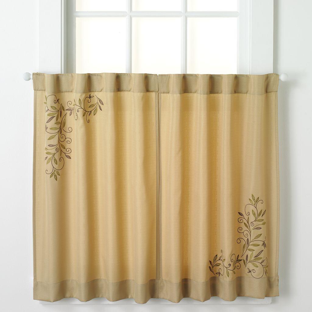 CHF Scroll Leaf Tier Kitchen Window Curtain Set