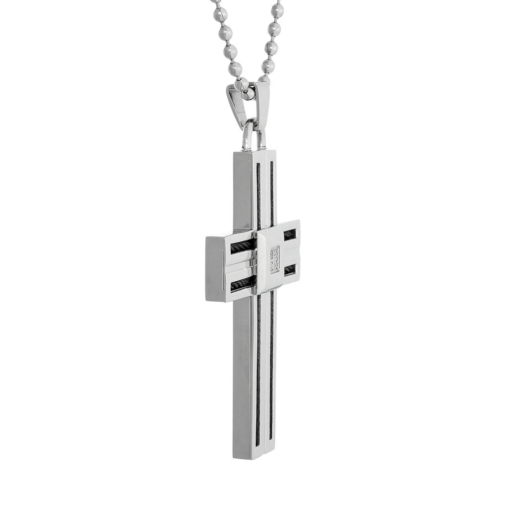 LYNX Stainless Steel Diamond Accent Men's Cross Pendant
