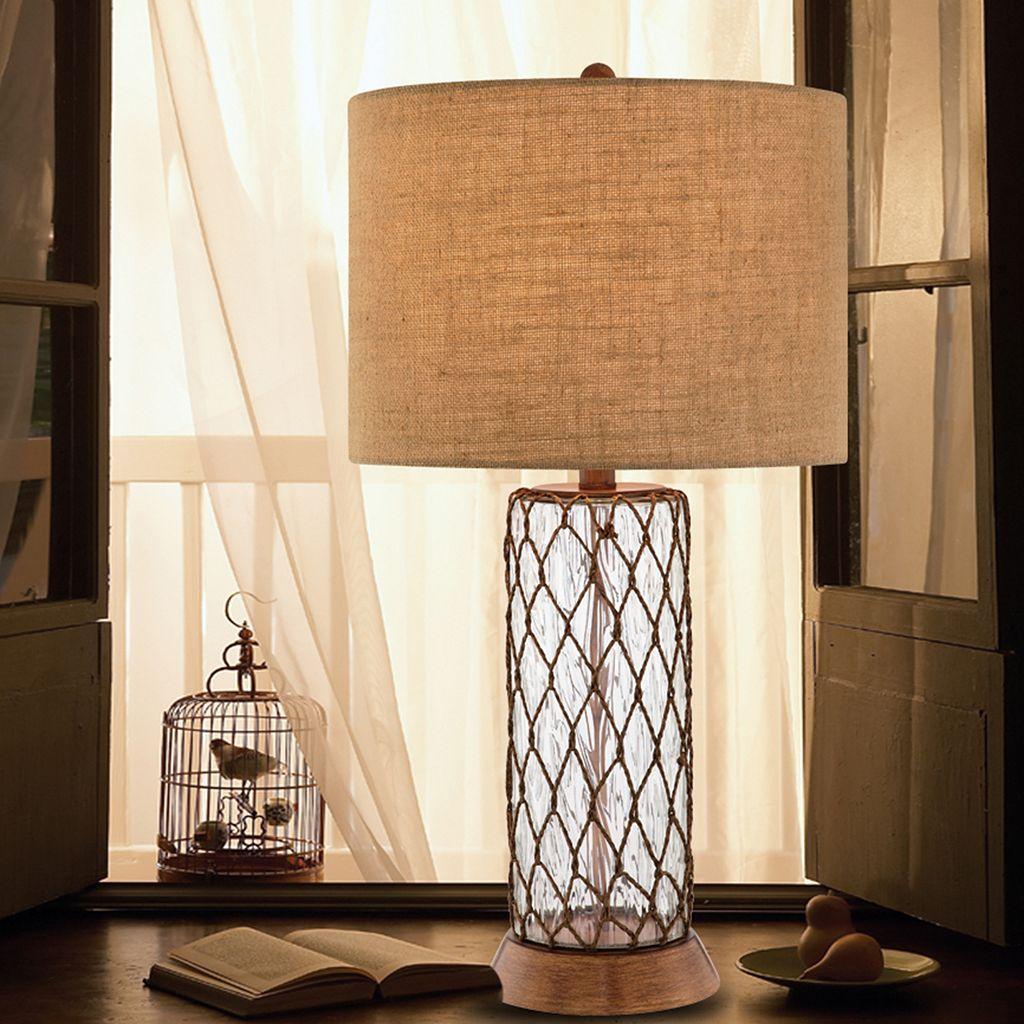 Catalina 3-Way 32'' Burlap & Glass Table Lamp