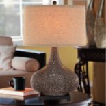 Catalina 3-Way 28'' Embossed Ceramic Table Lamp