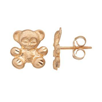 Kids' 14k Gold Teddy Bear Stud Earrings