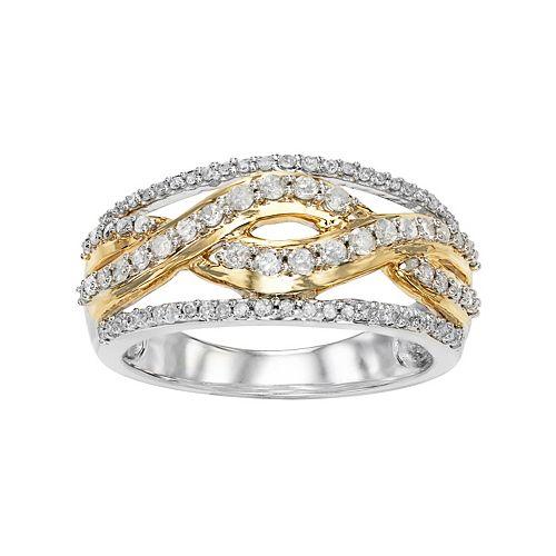 Two Tone 10k White Gold 1/2 Carat T.W. Diamond Crisscross Ring