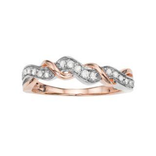 Two Tone 10k Rose Gold 1/5 Carat T.W. Diamond Ring