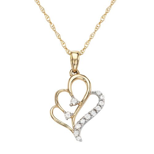 10k Gold 1/10 Carat T.W. Diamond Heart Pendant