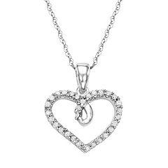 10k White Gold 1/6 Carat T.W. Diamond Heart Pendant