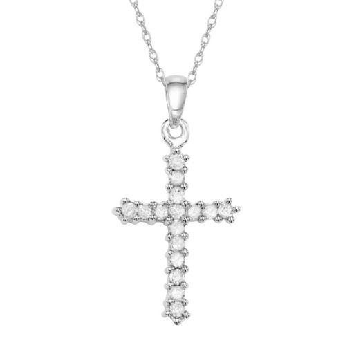 10k White Gold 1/4 Carat T.W. Diamond Cross Pendant