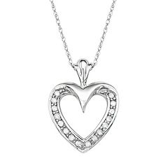 10k White Gold 1/6 Carat T.W. Diamond Heart Pendant
