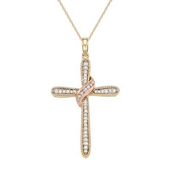 Two Tone 10k Gold 1/5 Carat T.W. Diamond Cross Pendant