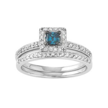 10k White Gold 1/2 Carat T.W. Blue & White Diamond Engagement Ring Set