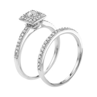 10k White Gold 1/2 Carat T.W. Diamond Halo Engagement Ring Set