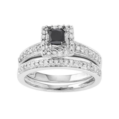 10k White Gold 1/2 Carat T.W. Black & White Diamond Engagement Ring Set