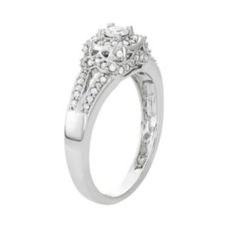 14k White Gold 1/2 Carat T.W. Diamond Tiered Halo Engagement Ring