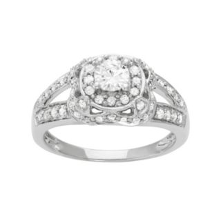 14k White Gold 1 Carat T.W. Diamond Tiered Halo Engagement Ring
