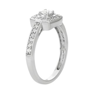 14k White Gold 1/2 Carat T.W. Diamond Square Halo Engagement Ring