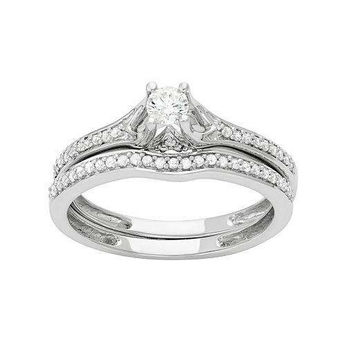 14k White Gold 1/2 Carat T.W. Diamond Engagement Ring Set