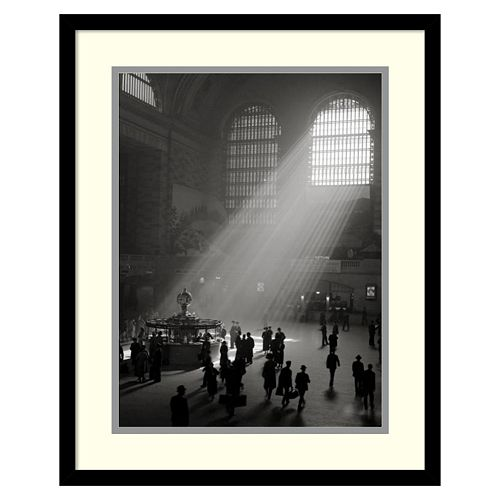 """""""Sunbeams Streaming Into Grand Central Station, NYC"""" Framed Wall Art"""