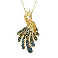 Sterling Silver 9/10 Carat T.W. Diamond Peacock Pendant Necklace