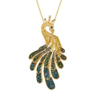 Sterling Silver 9/10 Carat T.W. Diamond Peacock Pendant Necklace