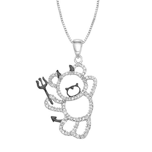 Sterling Silver 1/3 Carat T.W. Diamond Devil Bear Pendant Necklace