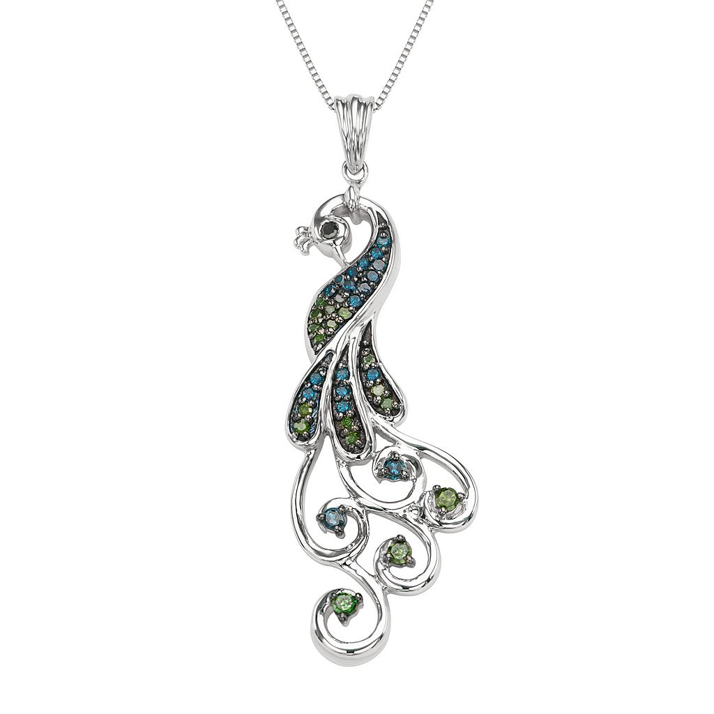 Sterling Silver 1/3 Carat T.W. Diamond Peacock Pendant Necklace