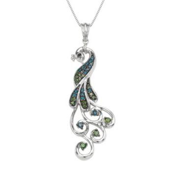 Sterling Silver 1/3 Carat T.W. Diamond Peacock Pendant Necklace
