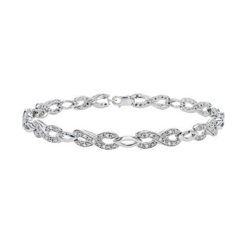 Sterling Silver 1/3 Carat T.W. Diamond Infinity Bracelet