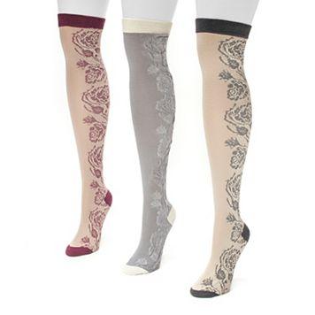 MUK LUKS 3-pk. Women's Floral Over-The-Knee Socks