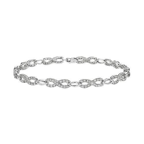 Sterling Silver 3/4 Carat T.W. Diamond Infinity Bracelet