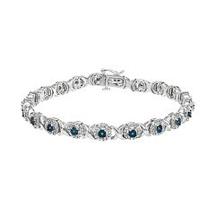 Sterling Silver 1 Carat T.W. Blue & White Diamond XO Bracelet